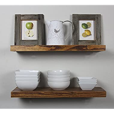 Solid Rustics - Rustic Deep Floating Shelves, Walnut, Made in USA, (Set of 2) (1 1/2  H x 24  W x 7  D)