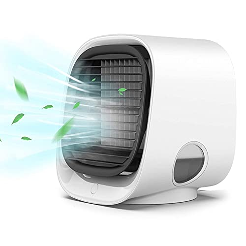 Heritan Ventilador USB portátil del aire acondicionado, enfriador de aire personal, enfriador de aire evaporativo recargable, para el hogar, oficina, blanco