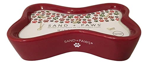 Sand + Paws Small Dog Bone Shaped Candle, Winter Pine Scent, Neutralizes Pet Odors, 5 Wick, 9 Oz