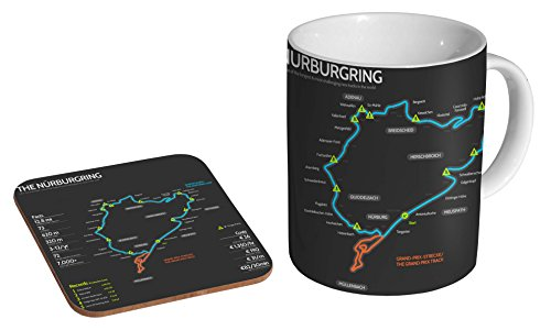 Nürburgring Nürburgring Nürburgring Nordschleife Track Keramik Kaffeetasse + Untersetzer Geschenkset ...