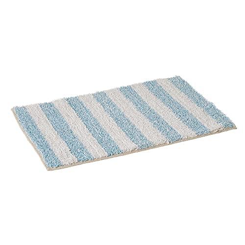 Alfombra de Baño de Rayas Blanco y Azul de algodón de 60x40 cm - LOLAhome