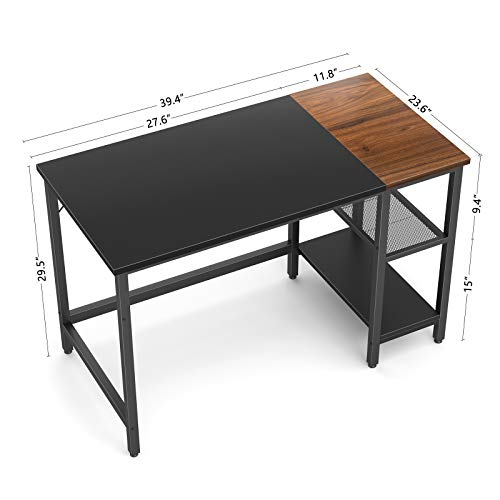 CubiCubi Computer Home Office Desk, 40 Inch Small Desk Study Writing Table with Storage Shelves, Modern Simple PC Desk with Splice Board, Black and Espresso