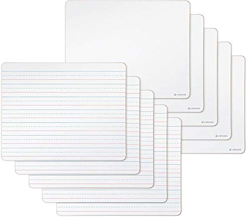 U Brands Dry Erase Lap Boards, Double Sided, 9 x 12 Inches, Ruled and Plain, 10-Pack (483U00-01), White