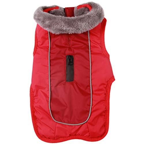 JoyDaog Hundemäntel mit Fleecehalsband für kleine Hunde, wasserdichte, warme Baumwolljacke für kalte Winter, Rot S