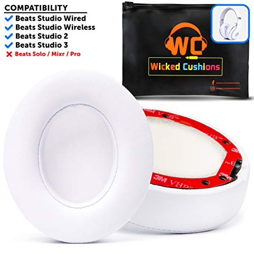Premium Beats Studio Replacement Ear Pads by Wicked Cushions - Compatible with Beats Studio 3/2 / Wired/Wireless - Extreme Comfort with Ear Adapting Memory Foam & Super Strong 3M Adhesive - White