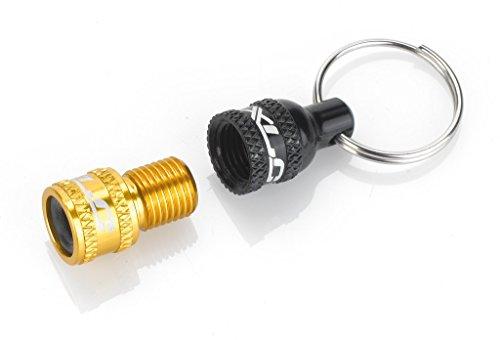 XLC Unisex– Erwachsene PU-X07 Ventiladapter inkl. Schlüsselring, Schwarz, Gold, Unisize