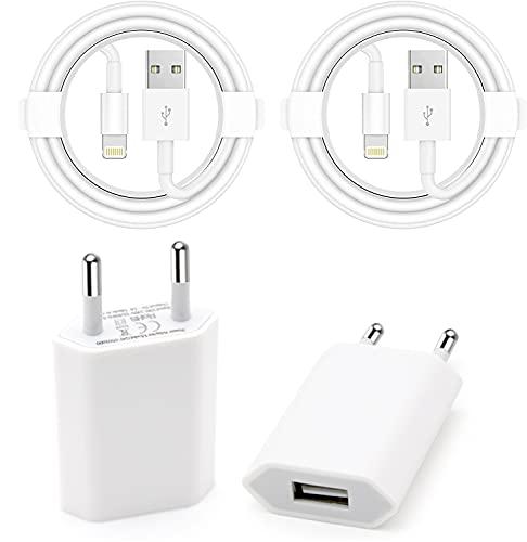 Cargador iPhone con Lightning Cable [1M/2Pack] Apple MFi Certificado Adaptador de enchufe universal USB Compatible con iPhone 12/SE/11/XsMax/XR/X/8/8 Plus/7/7 Plus/6/6S/6Plus/5S (Blanco)