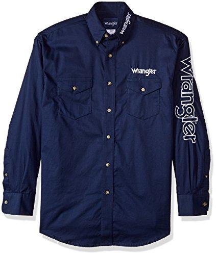 Wrangler Herren Men's Logo Two Pocket Sleeve Shirt Button Down Hemd, Navy, Groß