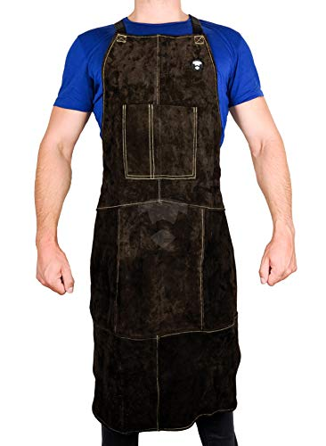 Waylander Full Length Welding Apron – Authentic Split Leather Cowhide and Kevlar Reinforced Stitching; Shop Apron for Welders, Blacksmiths and Machinists; Bib Tool Pockets and Cross Strap Back