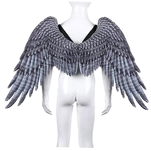 Berrywho Black Wings Angel Disfraz Party Cosplay Prop Seculy Vestido Disfraz Simple Angel Cosplay Alas para Nios Nios Nios