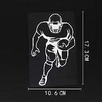 車の装飾 10.6CMX17.3CMアメリカンフットボール選手レジャースポーツビニールカーステッカーブラック/シルバー ビニールステッカー (Color Name : Silver)