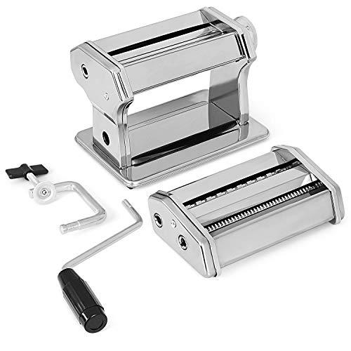 Máquinas de pasta manuales, 410 máquinas de corte de acero inoxidable, rodillos de superficie lavables con mango de curva manual, máquinas de pasta de espesor ajustable, 2 cuchillos (plateado)