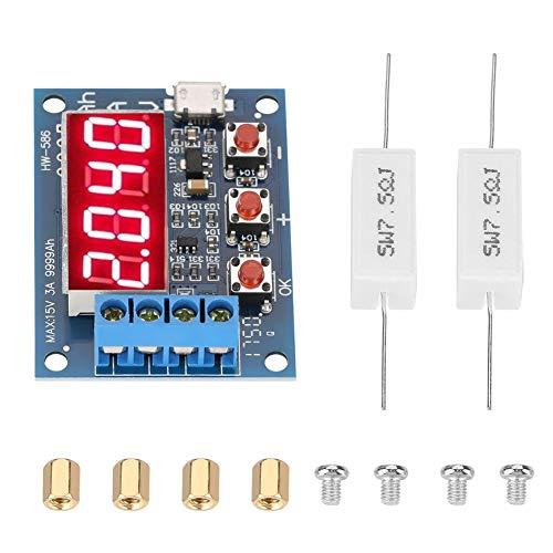 Fafeicy Comprobador de capacidad de batería, comprobador de descarga de 1,2-12 V 18650 Li-ion litio plomo-ácido, módulo comprobador de capacidad de batería