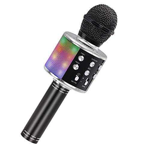 Bluetooth Karaoke Mikrofon, Ankuka Kabellos Mikrophon mit eingebauten Lautsprechern, Handheld Karaoke Mic für Gesang und Aufnahme, Home Party, Kompatibel mit Android/iOS/PC, black