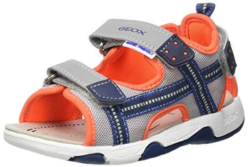 Geox B150FA05014 Bebé-Niños, Grey/Fluor Orange, 22 EU