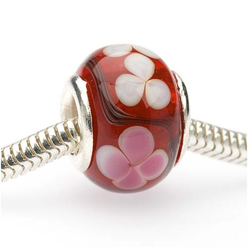 Beadaholique Murano Style Glass Lampwork Pandora Compatible Beads, 14mm, Ruby Red with Flowers