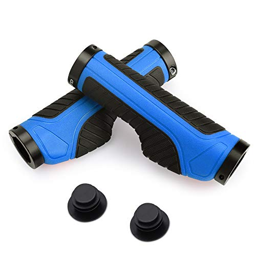 1 Paio Bike Hand Grips,Ergonomici Manopole MTB Manubrio Lockable Mountain Bike Manubrio Bicicletta Cycling TPR Manubrio in Gomma Grip per Mountain,Ciclismo e Biciclette Accessori
