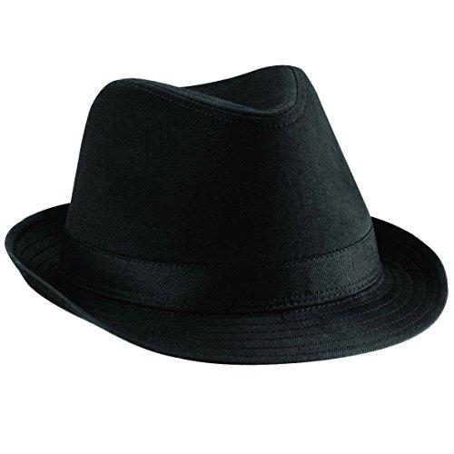 Beechfield Fedora unisex Sombrero Negro o Blanco - Black - SM