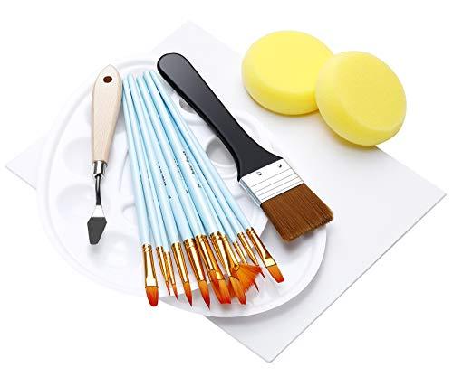 EXTSUD Acrylfarben Pinselset, 12 Künstlerpinsel + 2 Mischpalette + Leinwand Maltuch Malerpinsel Set für Acryl & Ölgemälde Pinsel Set für Anfänger, Kinder, Künstler und Gemälde Liebhaber