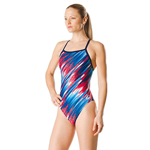 Speedo Women's Swimsuit One Piece PowerFlex Flyback Striped Adult Team Colors Reigning Navy/Red/White, 34