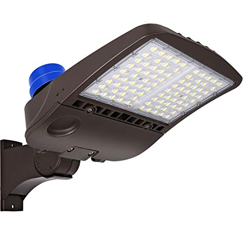 Hykolity 300W LED Parking Lot Light with Photocell,39000lm 5000K Waterproof LED Shoebox Fixture, Outdoor Pole Mount Light for Large Area Lighting [1000w Equivalent] Arm Mount DLC Complied