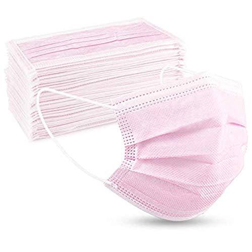 Tanness 3-lagige Einweg-Sicherheitsmasken (50 Stück) in Pink, 3-lagig, atmungsaktiv, 3-lagig, Mundschutz mit elastischen Ohrschlaufen.