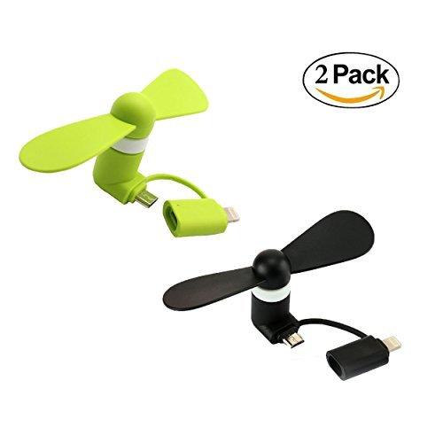 Mini Cooling Ventilateur, POTOK 2 Pack Universal Portable 2 in 1 Mini portable USB électrique Ventilateur pour iPhone 6/6S et 6 Plus/6S Plus & iPhone 5/5S, iPad Air, iPad, Android et Samsung Téléphone