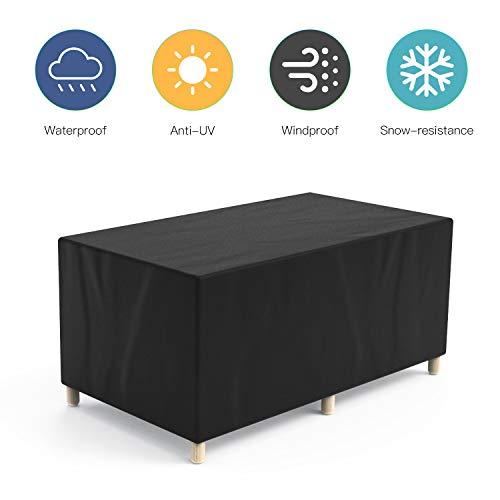 Govvay Cubierta de Muebles de Jardín Funda Protectora para Muebles Impermeable Anti-UV 420D Oxford Protección Exterior Muebles de Jardín Sofá,Mesa,Silla Negro(170x94x70cm)