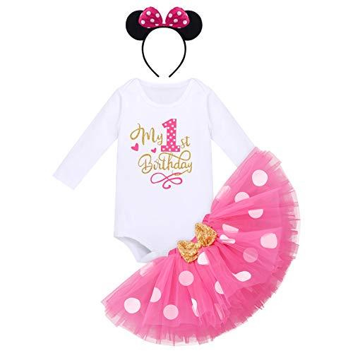 Baby Mädchen Mein 1. Geburtstag Outfit Minnie Kostüm Gepunktet Prinzessin Tütü Rock Baumwolle Langarm Body Strampler mit Ohr Stirnband 3tlg 1 Jahre Bekleidungsset Fotoshooting Rose