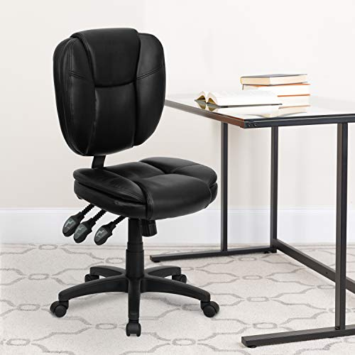 Flash Furniture Mid-Back Black LeatherSoft Multifunction Swivel Ergonomic Task Office Chair with Pillow Top Cushioning
