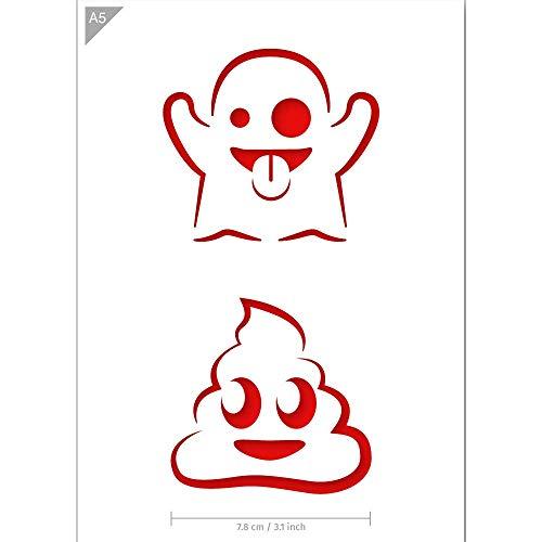 QBIX Emoji Schablone - Geist Emoji - Poop Emoji - Emoticons Schablone - A5 Größe - wiederverwendbar Kinderfreundliche DIY Schablone für Malen, Backen, Basteln, Wand, Möbel
