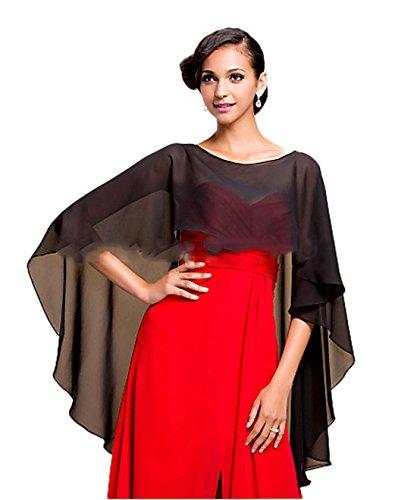 CoCogirls Stola in chiffon per abiti in diversi colori, adatta a qualsiasi abito da sposa, da sera, da matrimonio, da gala o ricevimento azzurro Taglia unica (Black)