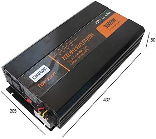 Qjm AC Auto-Wandler 3000W Sinus-Wechselrichter, DC 12V / 24V / 48V zu AC110V / 220V Solarwechselrichter mit einem LCD-Bildschirm Wegrasterfeld und zwei Universalbuchse USB, for RV Truck Car24VTo220V D