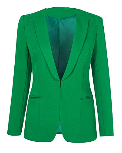 SHUIANGRAN Women's Slim Fit Notch Collar One Button Jacket Office Blazers Green US 12 (tag Asian 4XL)
