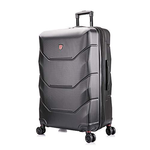 DUKAP Zonix 30 Inch Large Lightweight Hardside Luggage with Spinner Wheel, Travel Suitcase with Ergonomic GEL Handle, Black