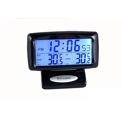 Temporizador 2 en 1 para coche, pantalla digital, monitor de tiempo interior y trasero, termómetro de doble temperatura con herramienta LED para medir la iluminación de fondo