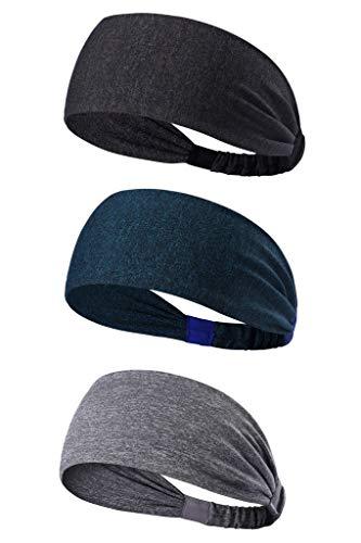 HYSENM Stirnband 3 Stück Unisex Streifen Feuchtigkeits-aufnehmen Schnell-Trocken Stretch Atmungsaktiv Schweißband für Outdoor Sport Headband Kopfband, Set A16-5