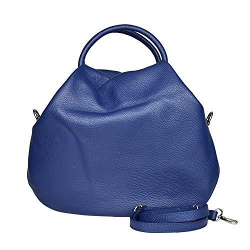 VantoBag | tas blauw Cobalto echt leer | Ballon Shopping met schouderriem | Baloon