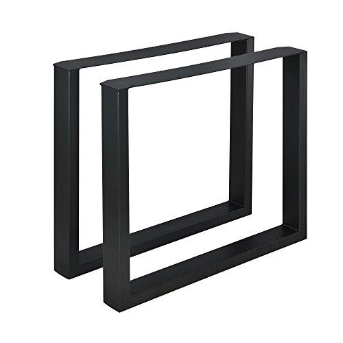 [en.casa] 2X Tischgestell 80 x 72cm Schwarz Esstischgestell Tischuntergestell Tischkufen Pulverbeschichtet Tischbein Viereckig Quadratisch
