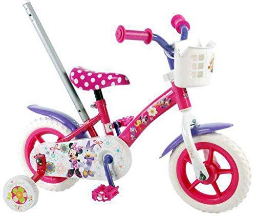 Disney Mädchen Minnie Bow-Tique Mädchenfahrrad mit Schubstange, Rose, Pink/Purple