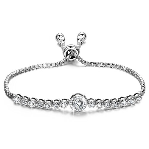 NINASUN Bracelets Fine Jewelry Gifts for Women Mom Christmas Day Present S925 Sterling Silver 3A CZ Adjustable Tennis Bracelet for Women The Little Mermaid Birthday Gifts Idea Daughter Grandma Wife