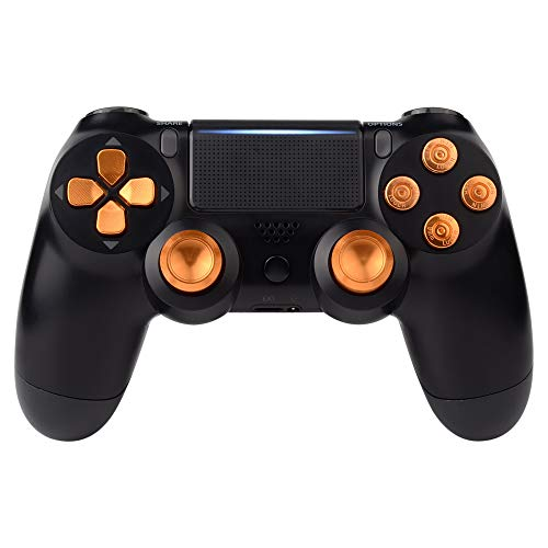 eXtremeRate PS4 Button Thumbsticks D-Pad Steuerkreuz aus Aluminium für Playstation 4/PS4 Slim/PS4 Pro Controller,Bundle Munition Thumbsticks Bullets Tasten Kappen Zubehör(Gold)