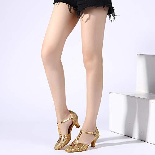YKXLM Damen & Mädchen Ausgestelltes Tanzschuhe/Standard Ballsaal Latein Dance Schuhe,DE511-5,Gold,EU 39 - 9
