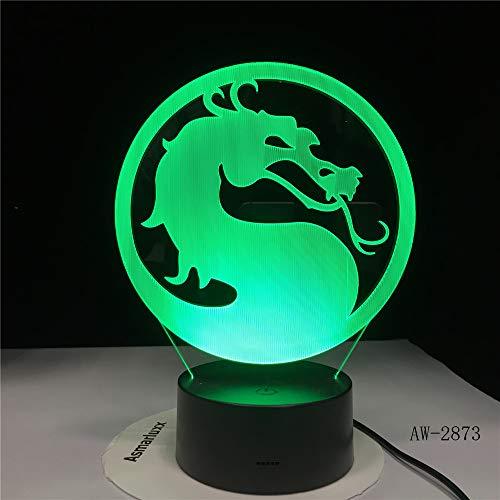 jiushixw 3D acryl nachtlampje met afstandsbediening van kleur veranderende lamp hoofd paar draak kinderen geschenken nacht kantoor mini tafellamp
