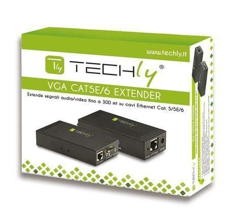 Techly 301122 Amplificatore Extender VGA e Audio su Cavo di Rete Nero
