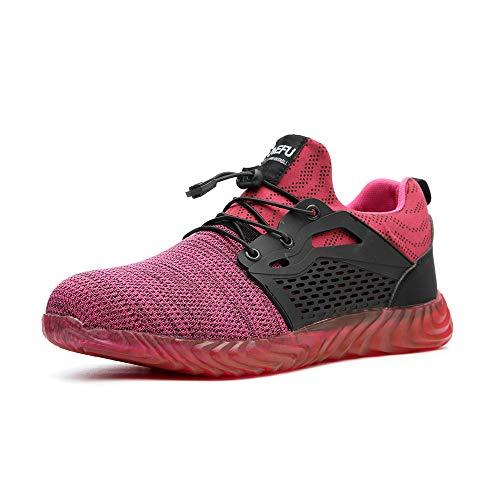 Chaussure de Securité Homme Femme Bottes Travail Chantiers Industrie Sneakers Protection Embout en Acier Basket de Sports Trekking Legere Rose-3 EU39