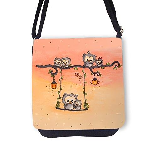ilka parey wandtattoo-welt Schultertasche Handtasche Tasche mit Eulen Schmetterlinge Mädchentasche Umhängetasche mit Eule kt769