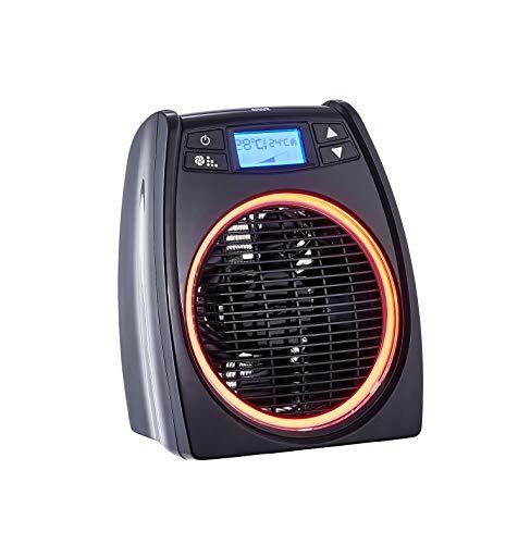 ewt Heizlüfter, Ventilator-Funktion, 2 Heizstufen (2000W), LC-Display leuchtet Rot/Blau als Betriebsanzeige, Überhitzungsschutz, Frostschutz, Elektro-Heizung schwarz, PF 320 LCD