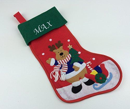 Chaussette de Noël personnalisée avec motif de renne (environ 44 cm de long) - Excellent cadeau de Noël pour bébé.