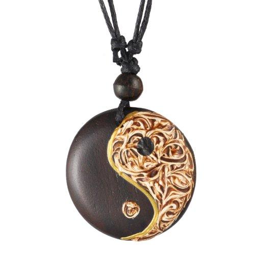 ISLAND PIERCINGS Halskette Anhänger aus Holz Ying Yang Handarbeit längenverstellbar N226